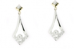 18ct two tone diamond pointed drop earrrings