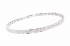 18ct white gold pave set diamond bangle