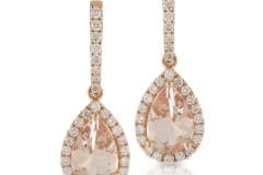 18ct Pear shaped Morganite & Diamond drop Earrings