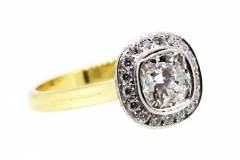 18ct gold & Platinum Ring with Cushion cut Diamond