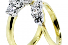 18ct gold Trilogy Engagement rings