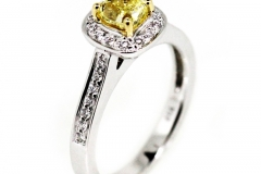 18ct white gold Fancy Yellow Diamond Cluster
