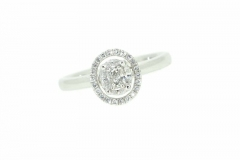 18ct White Gold Micro Set Diamond Cluster Engagement Ring