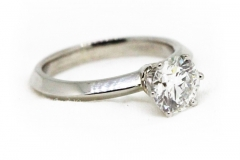 Handmade Platinum Solitaire Diamond Engagement Ring