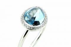 9ct white gold cabochon Topaz & Diamond ring