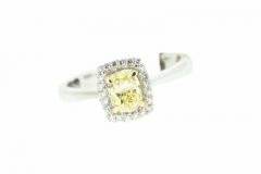 18ct White Gold Fancy Yellow Cushion cut Diamond Ring