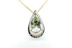 9ct gold handmade Green Amethyst & Diamond Pendant