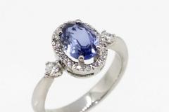Palladium Handmade Sapphire & Diamond ring