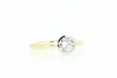 18ct Yellow Gold Handmade Rub Over Engagement Ring