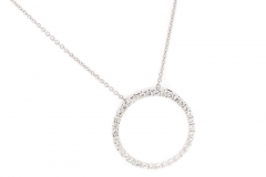 18ct white gold diamond circle of life pendant