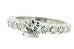 .89ct F/SI diamond engagement ring, featuring 10 millgrain set diamonds in 18ct white gold
