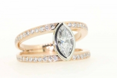 18ct two tone marquise cut handmade engagment ring