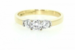 18ct gold handmade Trilogy Engagement ring