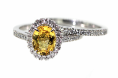 18ct Yellow Sapphire Halo Engagement Ring With Matching Diamond Wedding Band