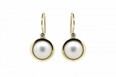 9ct gold mabe pearl & diamond earrings