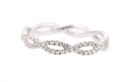 18ct white gold diamond twist band