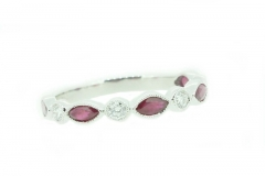 18ct white gold marquize ruby and round briliant cut diamond eternity or wedding band