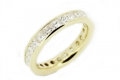 18ct yellow gold handmade full circle Princess cut Diamond Eternity ring