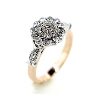 rose cut diamond enegagement ring brisbane