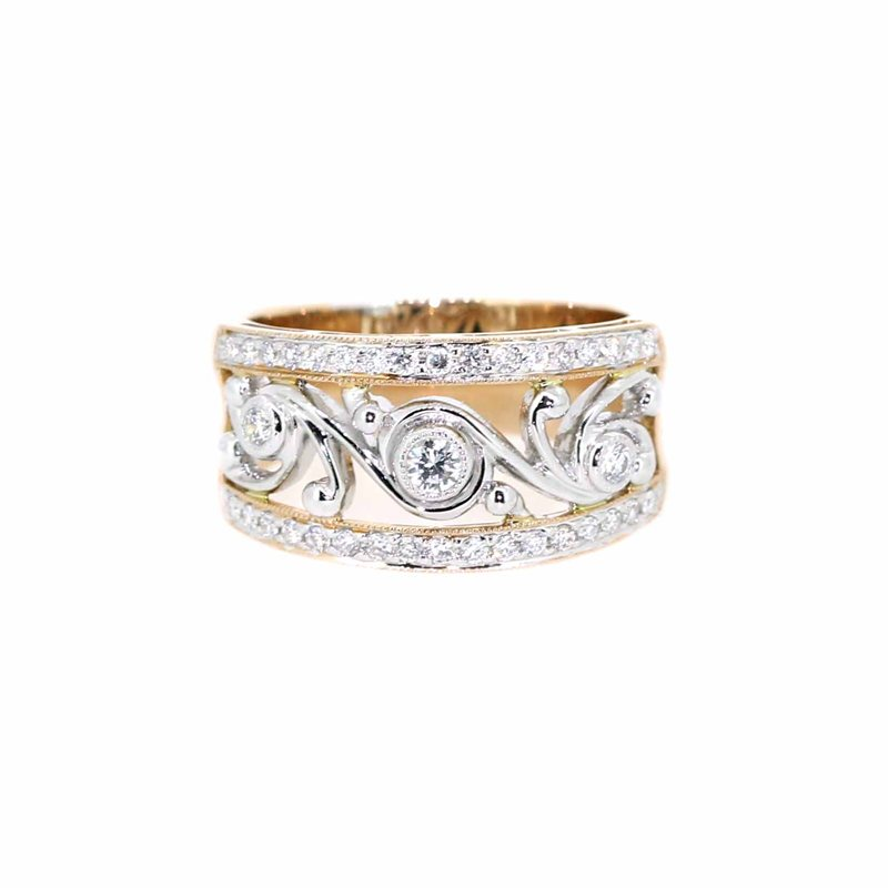 custom designed ring with diamonds and white gold