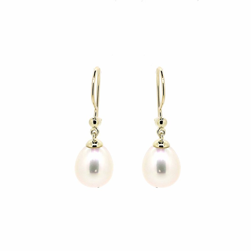 gold drop earrings with pearls