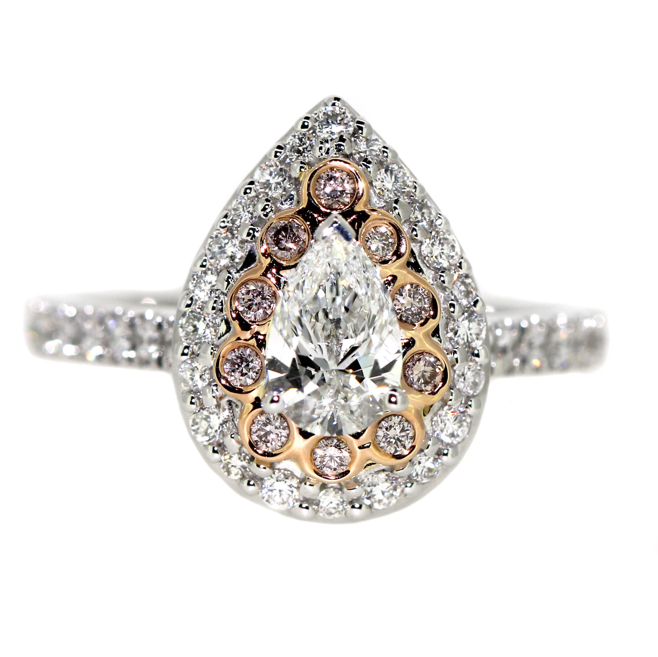silver pear ring with diamonds and pink diamonds