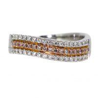 custom ring with pink diamonds