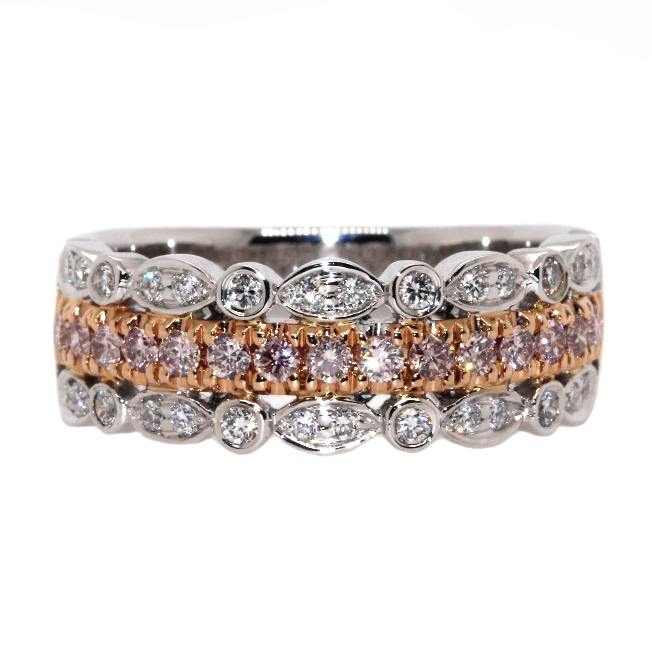 diamonds on band ring with pink diamonds