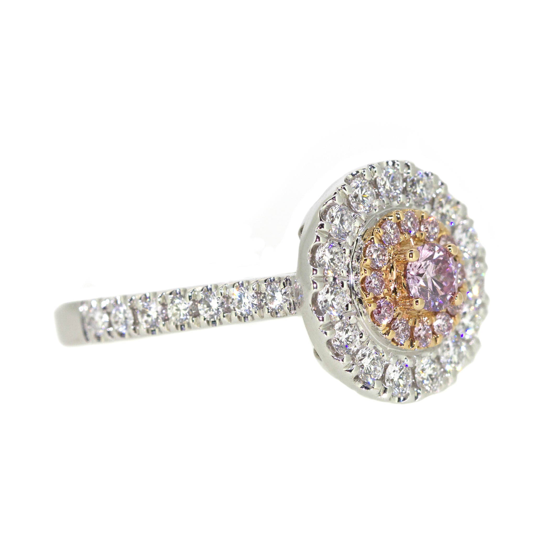 round ring with pink diamonds