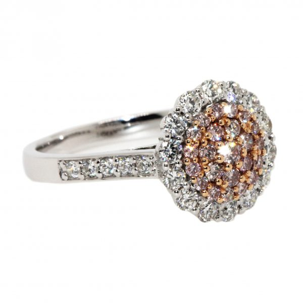 round engagement ring with diamonds