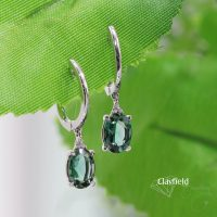 Green Tourmaline & 18ct White Gold Huggies