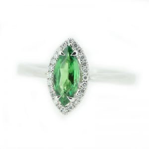 marquisite green and silver ring