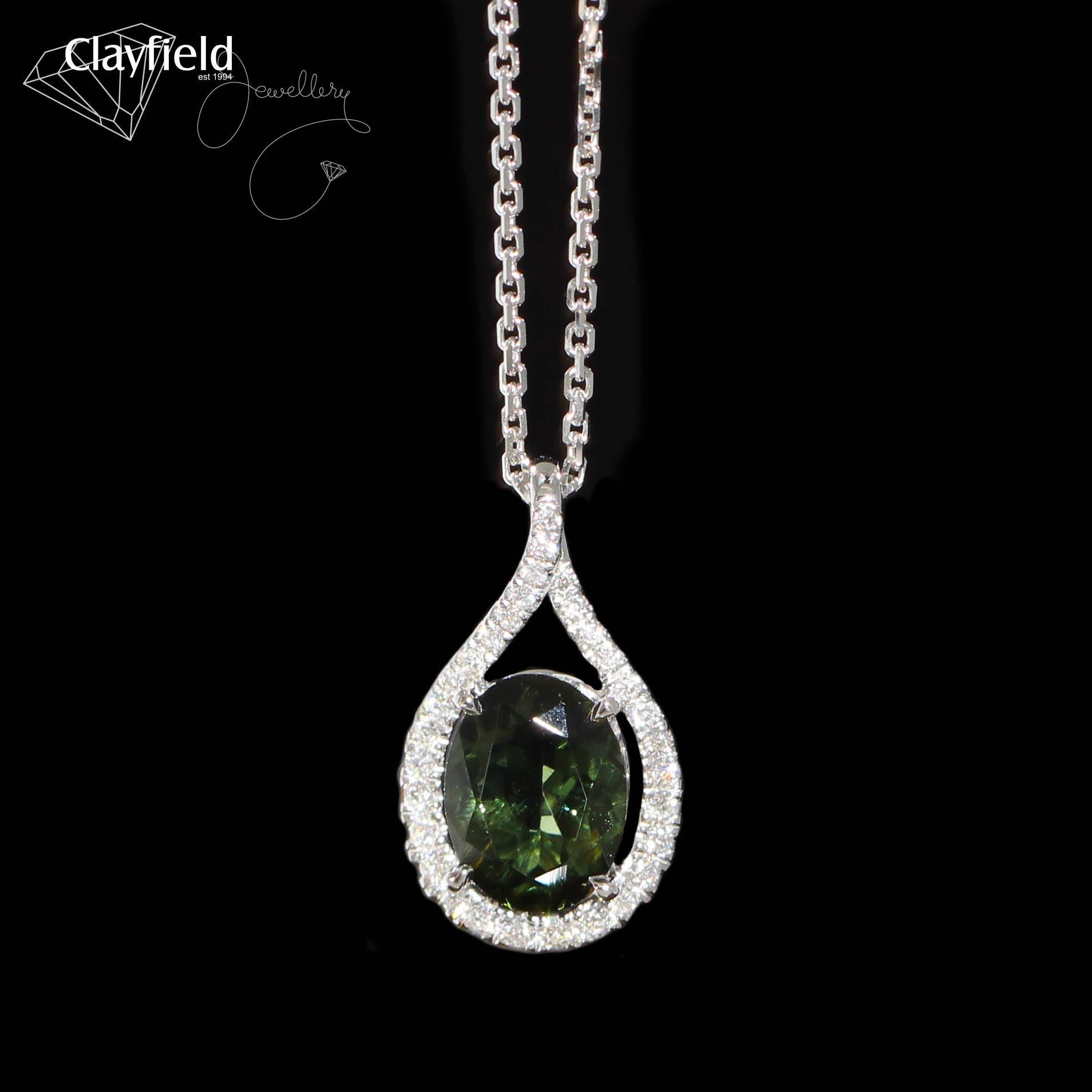 green tourmaline necklace with diamonds