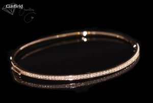 Rose Gold grain set Bangle with diamonds