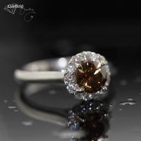 Chocolate Diamond with diamond halo set in white gold