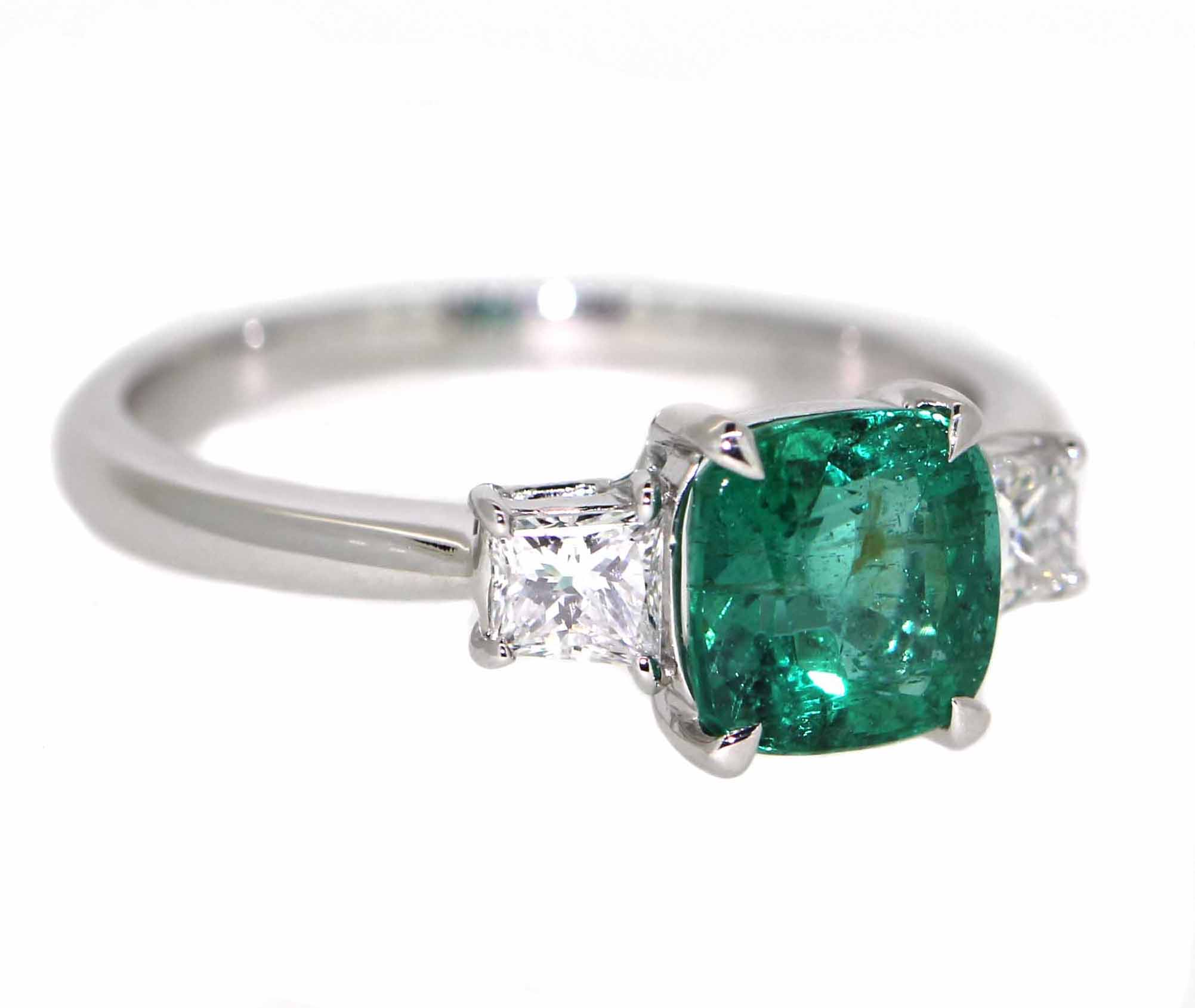 18ct White Gold, 1.45ct natural Emerald & .45ct of Diamonds.