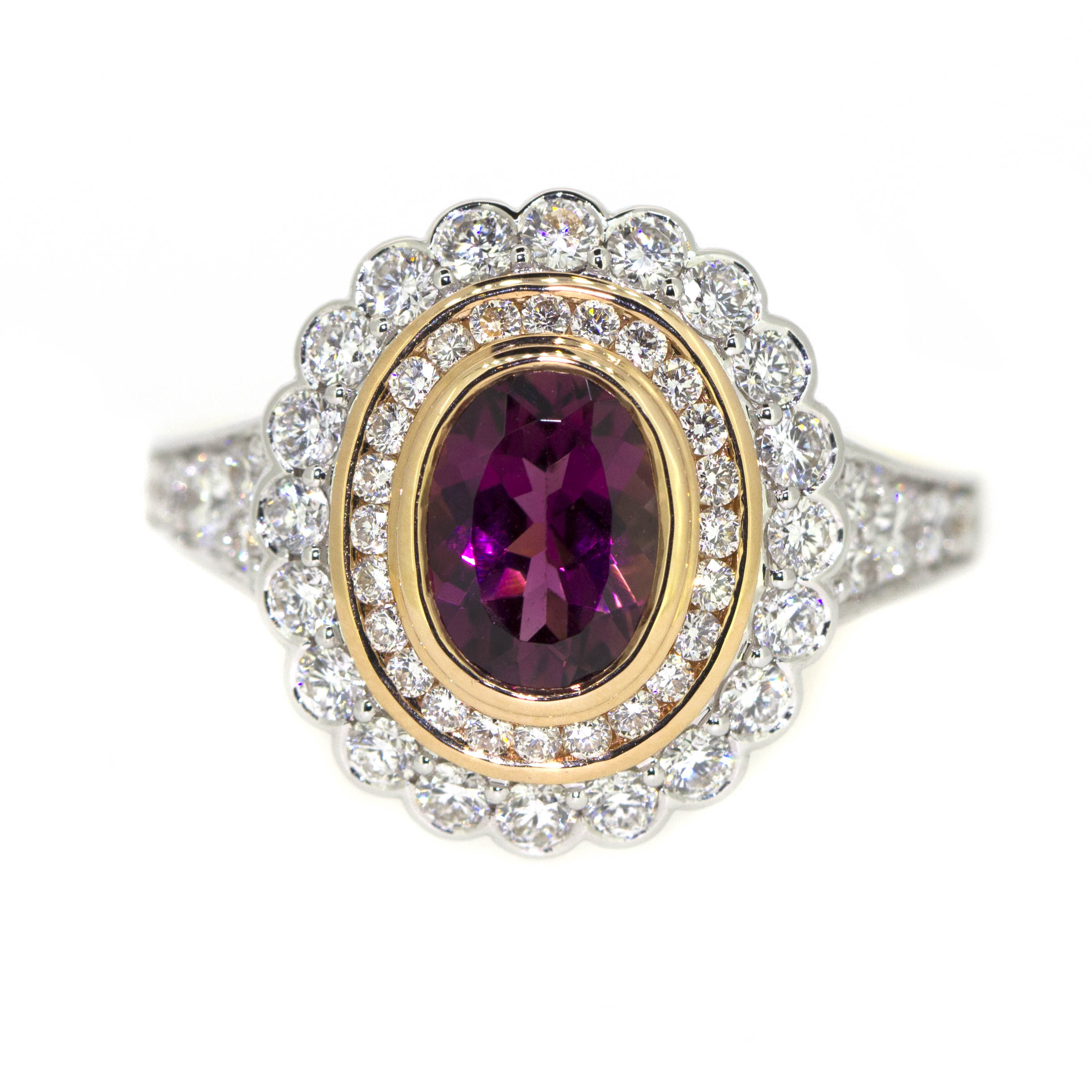 18ct White, Rose & Yellow Gold, 1.22ct Pink Tourmaline & 54 Diamonds equaling .90ct.