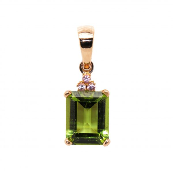 18ct Rose Gold, 3.06ct Peridot & .07ct of Pink Sapphires.