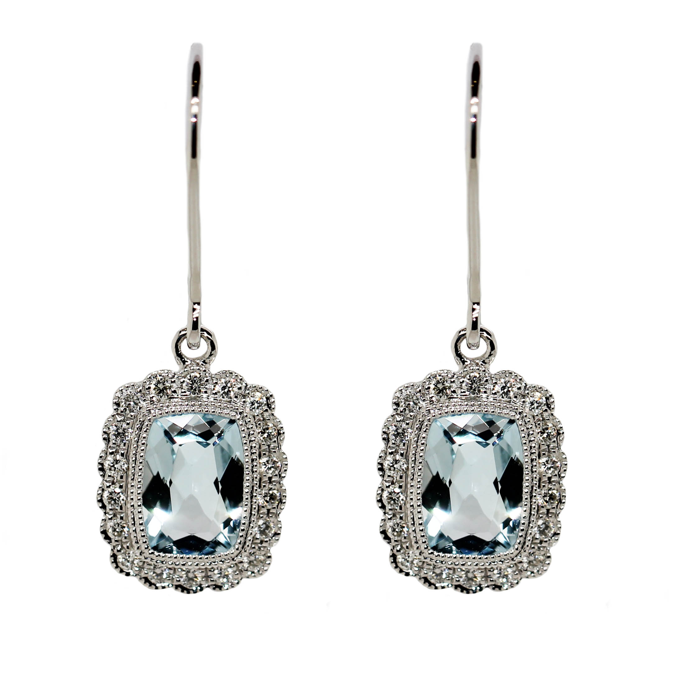 9ct White Gold, 2 Aquamarines equaling 1.55ct & .19ct of Diamonds.