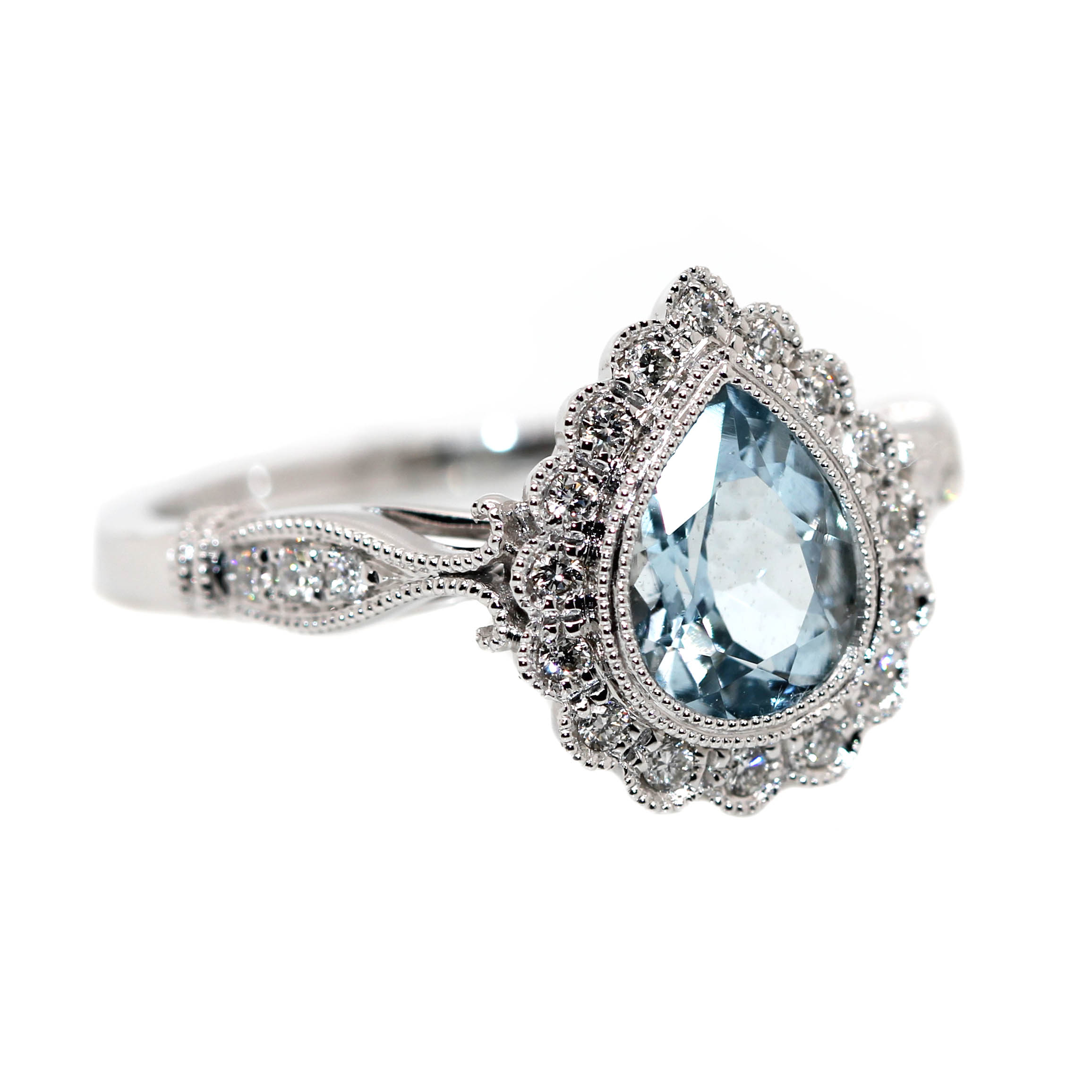 9ct White Gold, 1.01ct Aquamarine & .18ct of Diamonds.