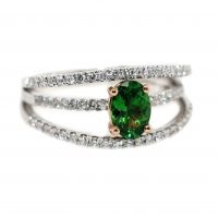 18ct White & Rose Gold, .79ct Tsavorite & .29ct of Diamonds.
