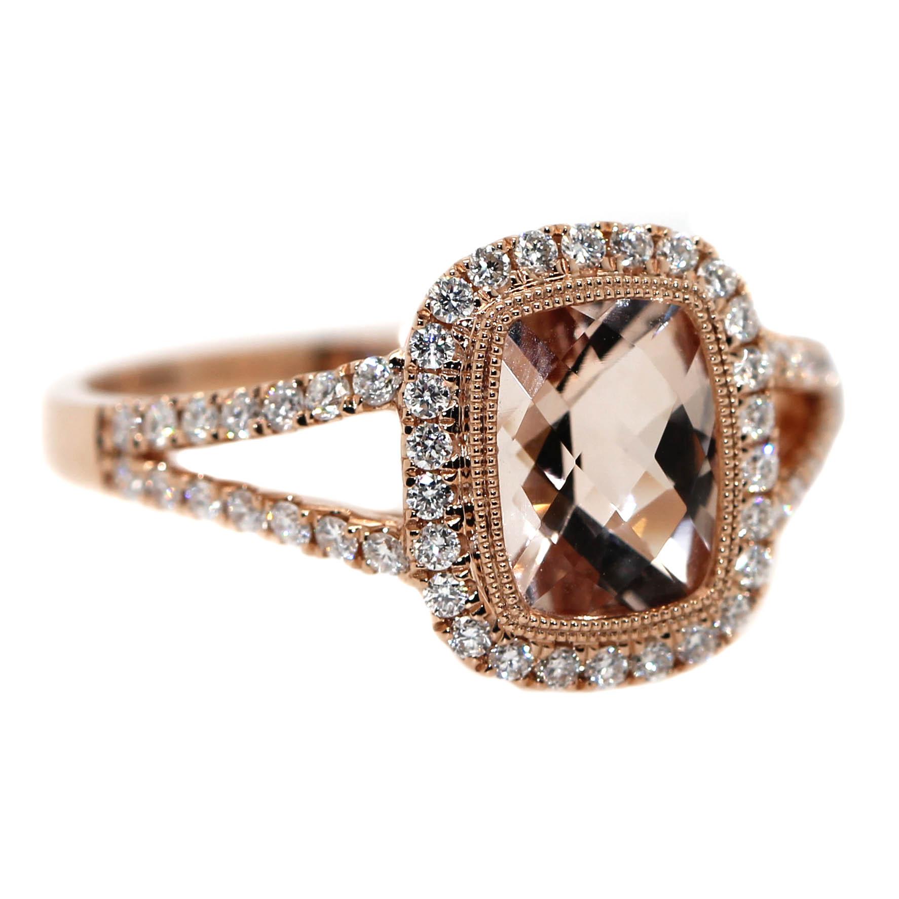 9ct Rose Gold, 1.22ct Morganite & 40 Diamonds equaling .37ct.