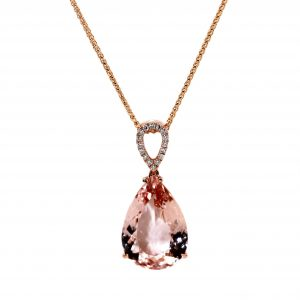 18ct Rose Gold, 5.80ct Morganite & 16 Diamonds equaling .08ct.
