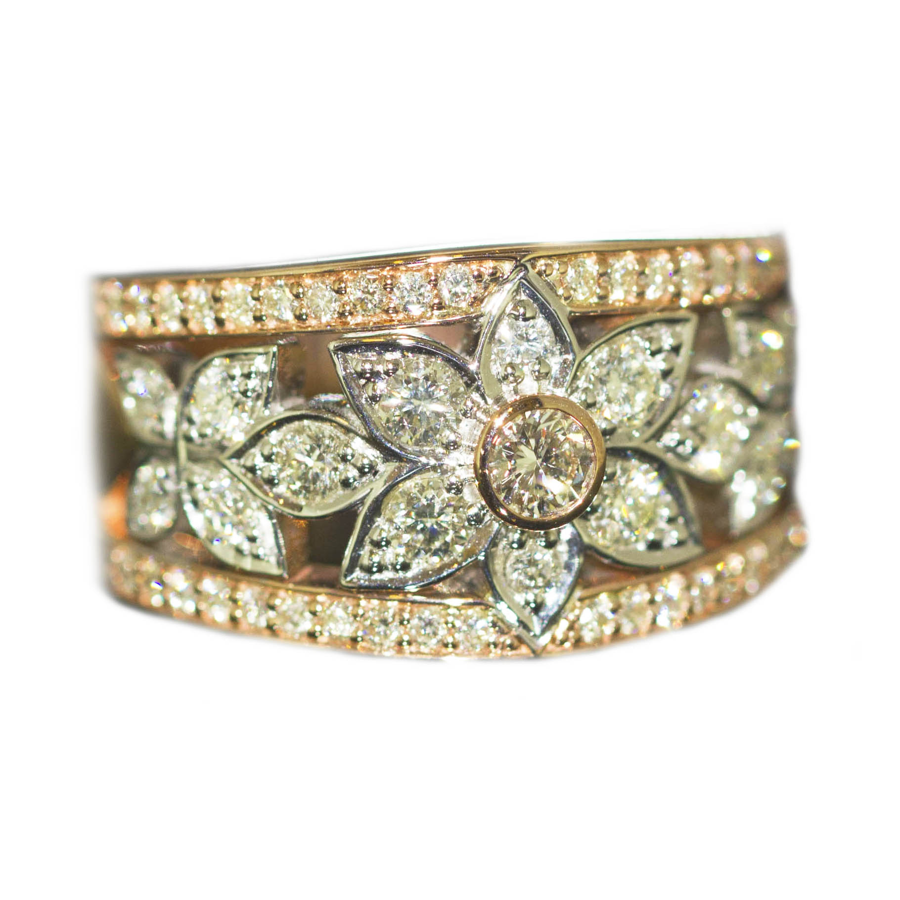 9ct Rose Gold & a total diamond weight of .91ct.