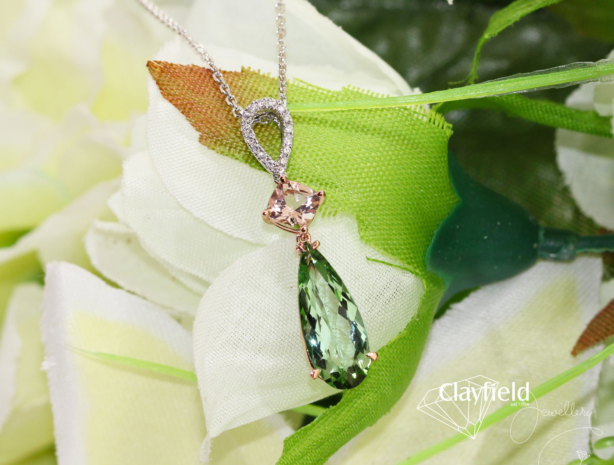 Morganite, Green Tourmaline & Diamonds