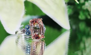 6.22ct Morganite, .87ct of Blue Topaz & .37ct of Diamonds