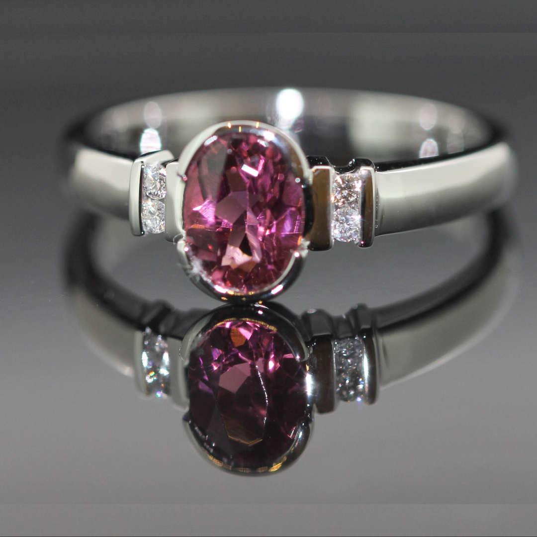 clayfield jewellery pink and white diamond ring